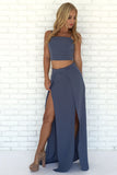 Navy Blue Two Piece A Line Floor Length Side Slit Chiffon Prom Dress,Party Dress