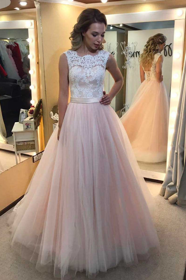 Pink A Line Sweep Train Sleeveless Mid Back Lace Up Appliques Long Prom Dress,Party Dress
