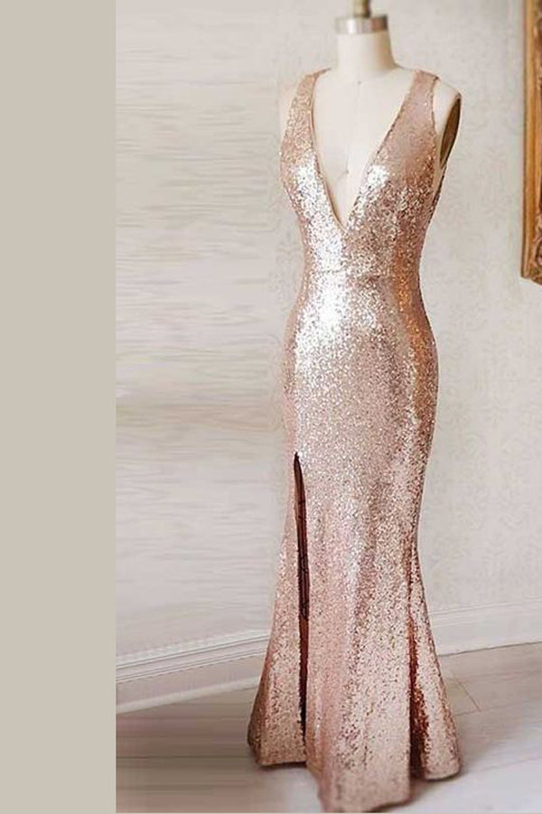Pink Sheath Floor Length Deep V Neck Sleeveless Keyhole Back Sparkle Prom Dress,Party Dress P323 - Ombreprom