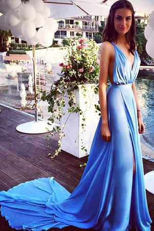 Blue A Line Court Train Deep V Neck Sleeveless Side Slit Backless Evening/Prom Dress P60 - Ombreprom