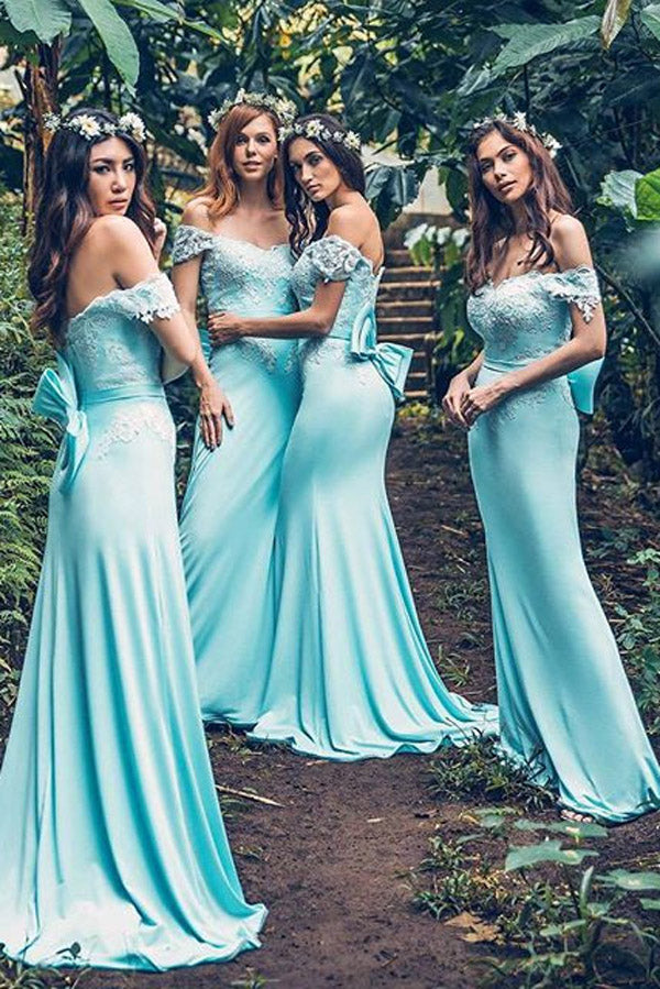 Blue Sheath Brush Train Off Shoulder Appliques Bridesmaid Dress, Wedding Party Dress B334 - Ombreprom