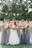 A Line Floor Length Sweetheart Sleeveless Tulle Cheap Bridesmaid Dress B237 - Ombreprom