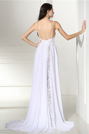 White A Line Sweep Train Sweetheart Spaghetti Side Slit Wedding Gown,Cheap Wedding Dress