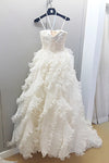 White A Line Court Train Sweetheart Spaghetti Ruffles Wedding Gown,Cheap Wedding Dress