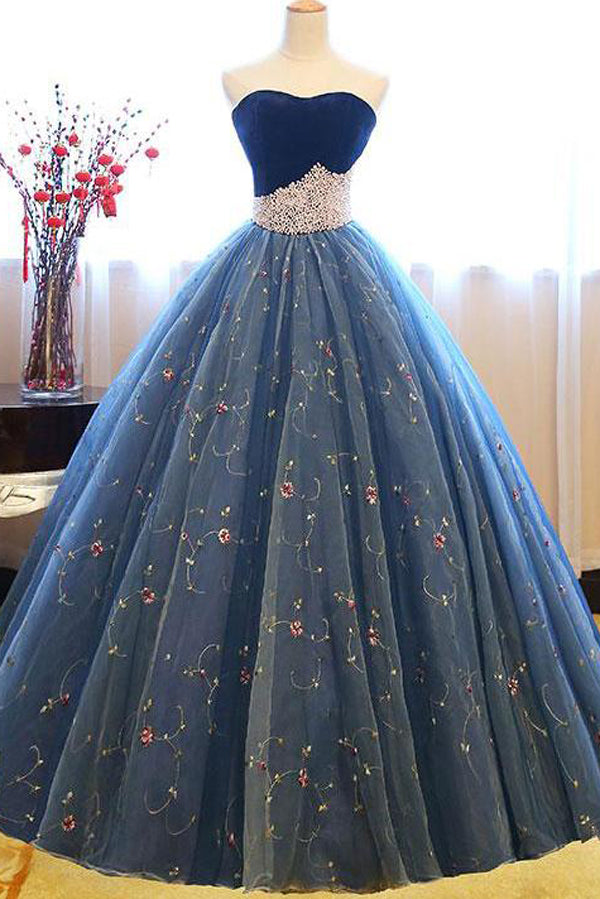 Navy Blue Ball Gown Sweetheart Sleeveless Lace Up Pearl Appliques Prom Dress,Formal Dress