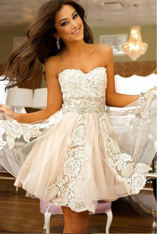 Chic Strapless Sweetheart Floral Lace A-line Homecoming Dress M470