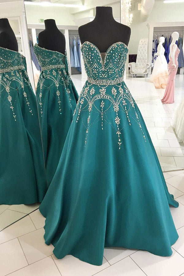 Green A Line Floor Length Sweetheart Sleeveless Beading Prom Dress,Party Dress P490