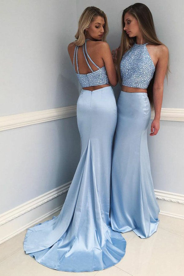 90dd08908c3 Light Blue Two Piece Sheath Brush Train Halter Sleeveless Beading Prom Dress