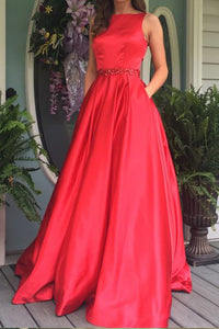 Red A Line Sweep Train Sleeveless Mid Back Beading Prom Dress,Party Dress