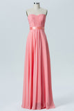 Apricot Blush A Line Floor Length Sweetheart Strapless Cheap Bridesmaid Dresses B190 - Ombreprom