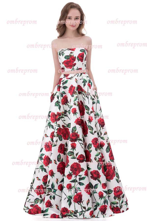 Two Piece Floral A Line Strapless Sleeveless Mid Back Cheap Prom Dress,Formal Dress