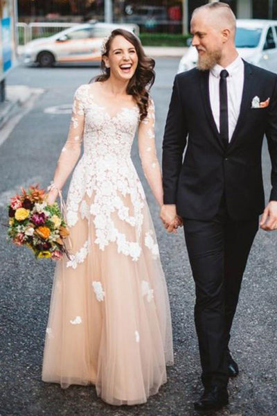 A Line Floor Length V Neck Long Sleeve Layers Appliques Prom Dress,Party Dress P431 - Ombreprom