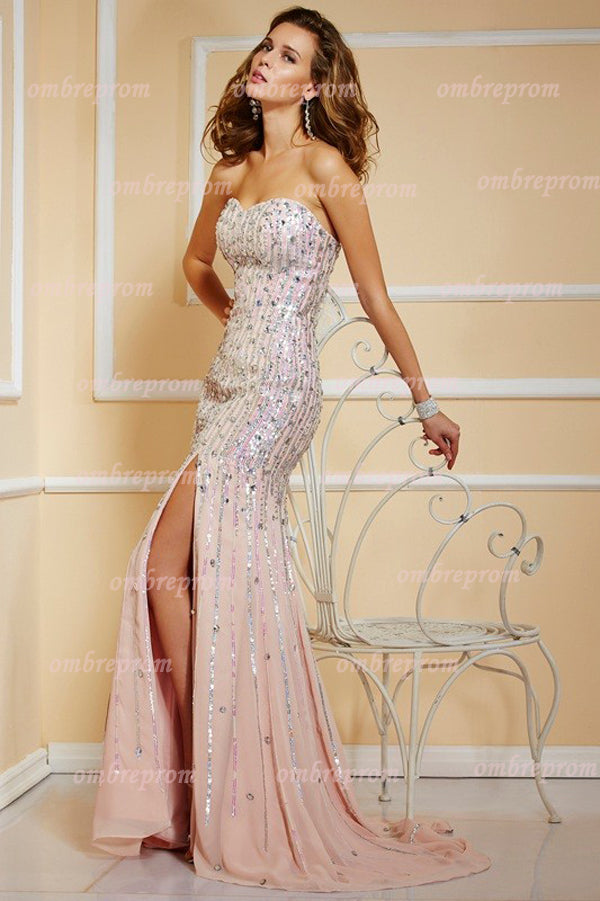 Pink Sheath Brush Train Sweetheart Sleeveless Sequins Beading Prom Dress,Party Dress