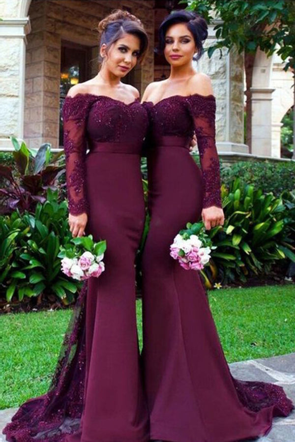 Burgundy Mermaid Sweep Train Off Shoulder Long Sleeve Appliques Beading Cheap Bridesmaid Dress B208 - Ombreprom