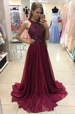 Burgundy A Line Floor Length Halter Sleeveless Beading Prom Dress 23b5caecf