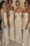 Ivory Sheath Sweetheart Strapless Sleeveless Beading Cheap Bridesmaid Dress