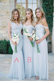 A Line Floor Length Off Shoulder Chiffon Simple Cheap Bridesmaid Dresses B227 - Ombreprom