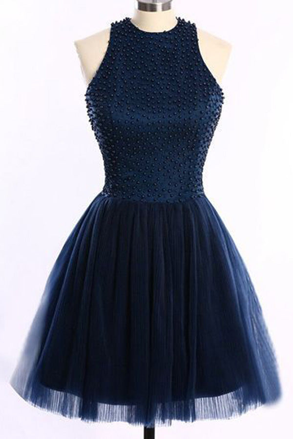 Navy Blue A Line Halter Sleeveless Keyhole Back Beading Short Homecoming Dress