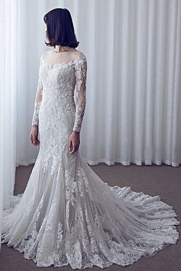 White Mermaid Court Train Long Sleeve Applique Wedding Dress,Cheap Wedding Dress