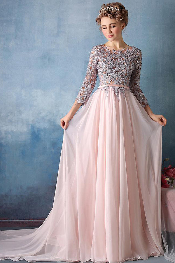 Pink A Line Sweep Train Jewel Neck 3/4 Sleeve Appliques  Cheap Prom Dress,Evening Dress