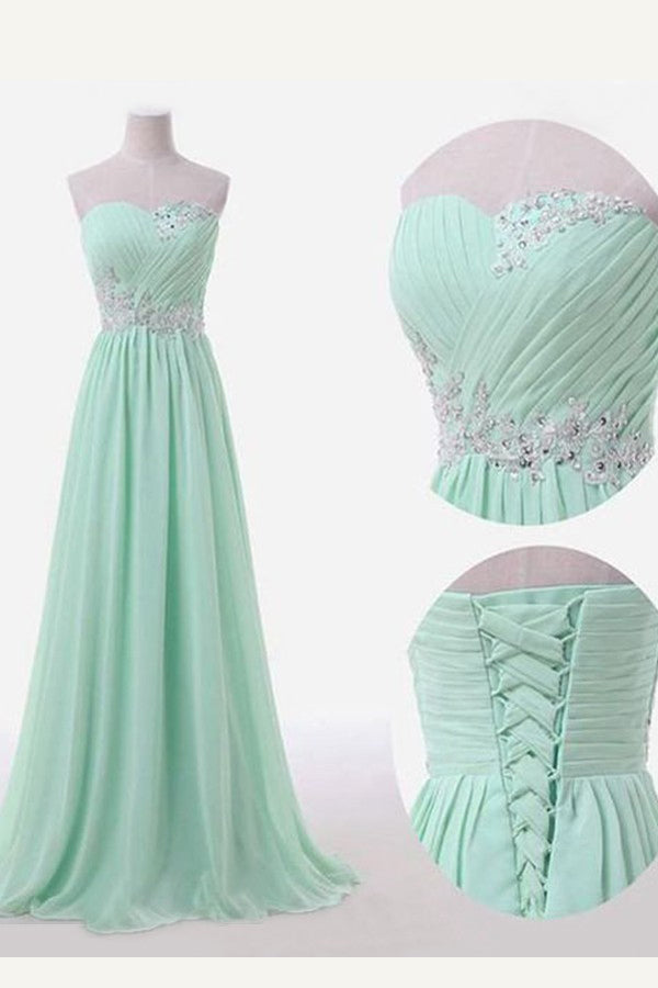 Green A Line Floor Length Sweetehart Sleeveless Beading Bridesmaid Dress, Wedding Party Dress B317