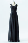 Black A Line Floor Length Curve Neck Lace Appliques Cheap Bridesmaid Dresses