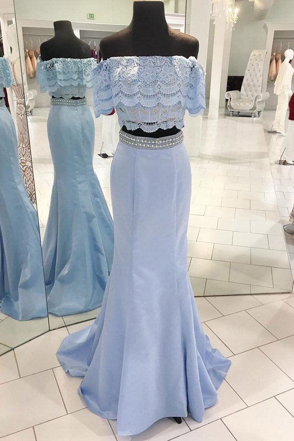 Blue Two Piece Shaeth Brush Train Off Shoulder Lace Beading Prom Dress,Party Dress P480 - Ombreprom
