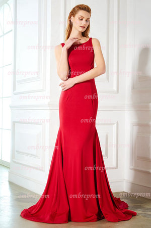 Red Sheath Sweep Train Scoop Neck Sleeveless Backless Simple Prom Dress,Party Dress