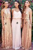 Golden A Line Floor Length Sleeveless Sparkle Bridesmaid Dress, Wedding Party Dress