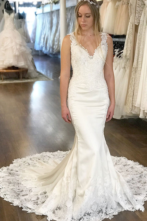 White Mermaid Court Train Deep V Neck Sleeveless Applique Wedding Dress,Perfect Wedding Dress