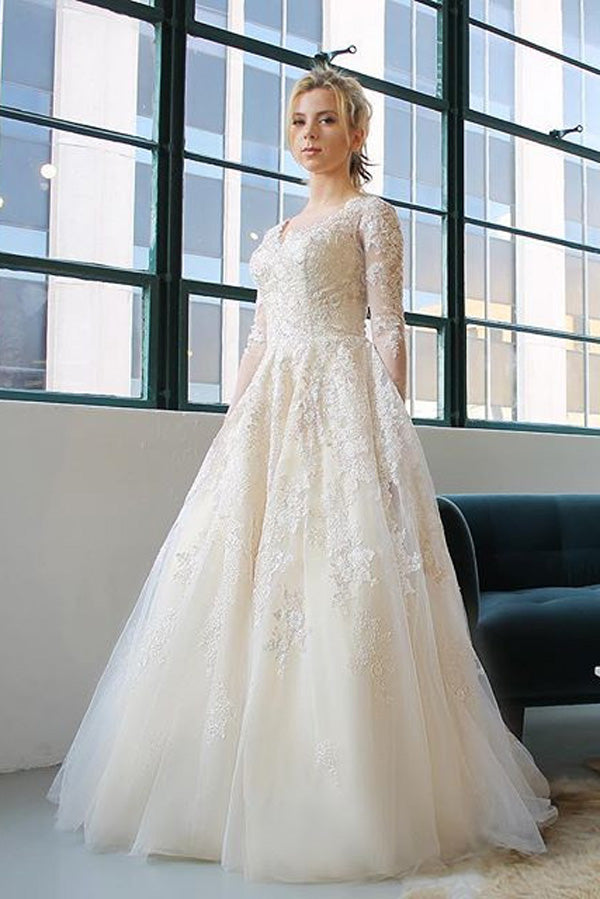 Ivory A Line Court Train V Neck Long Sleeves Layers Appliques Wedding Dress,Cheap Wedding Dress W248