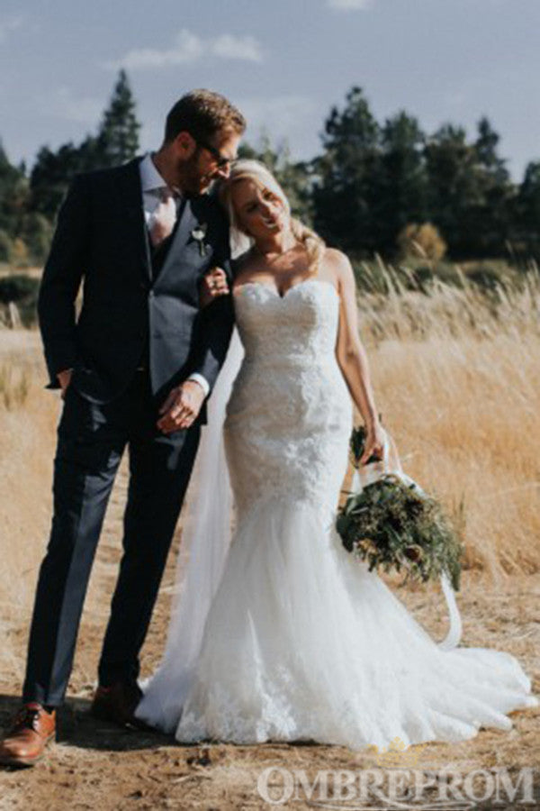 Charming Sweetheart Mermaid Lace Wedding Dress W747