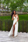 White A Line Floor Length Sweetheart Sleeveless Side Slit Chiffon Prom Dress,Party Dress
