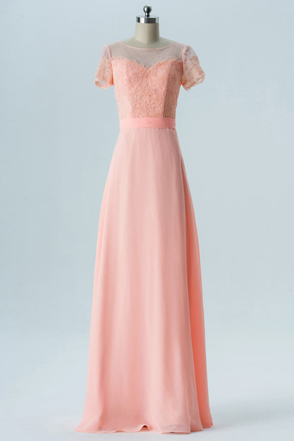 Peach Sherbet A Line Floor Length Sheer Nack Short Sleeve Open Back Cheap Bridesmaid Dresses