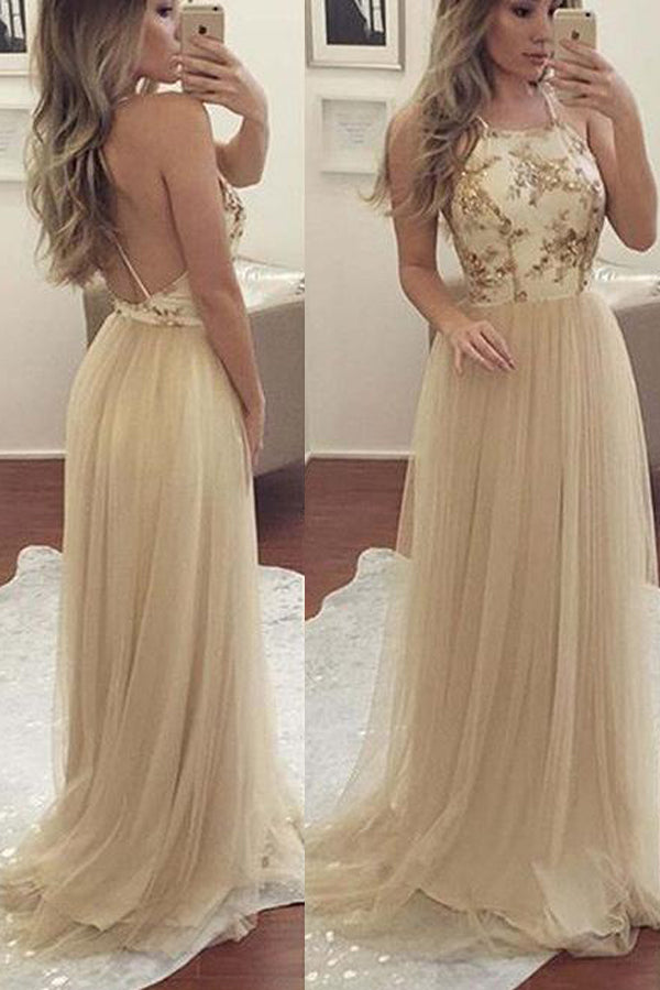 A Line Sweep Train Halter Sleeveless Backless Layers Tulle Prom Dress,Evening Dress P252 - Ombreprom