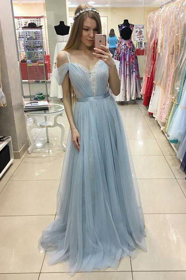 Light Blue A Line Brush Train Sweetheart Sleeveless Layers Tulle Prom Dress,Party Dress P520