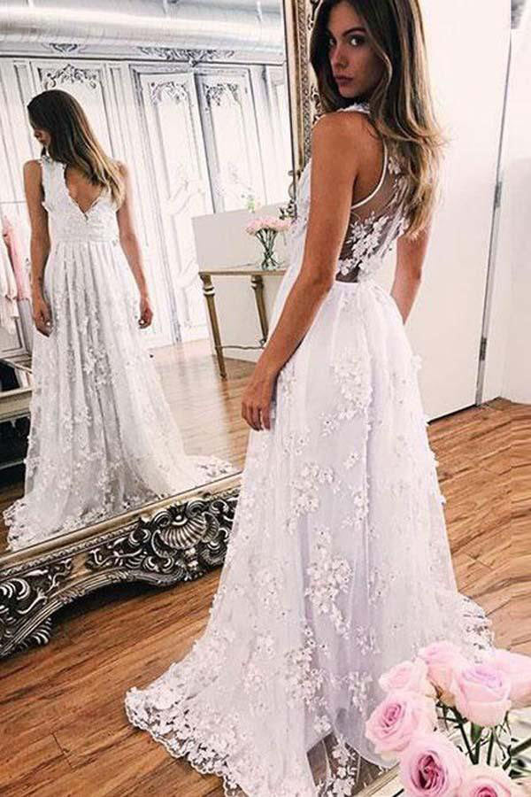 White A Line Brush Train Deep V Neck Sleeveless Lace Wedding Dress,Beach Wedding Dress