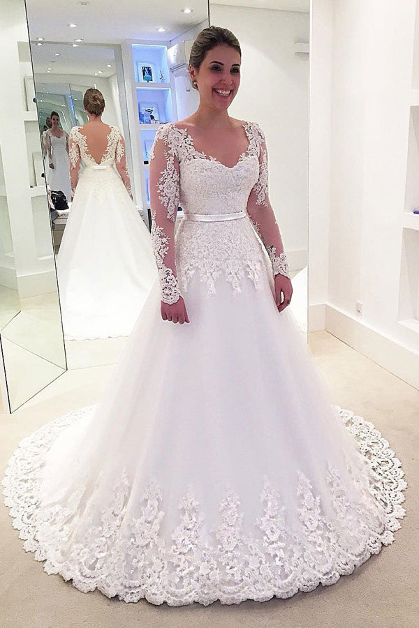 White A Line Court Train Long Sleeve Layers Appliques Wedding Dress,Wedding Gowns