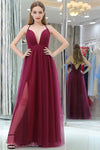 Burgundy A Line Floor Length Deep V Neck Sleeveless Side Slit Prom Dress,Formal Dress P271 - Ombreprom