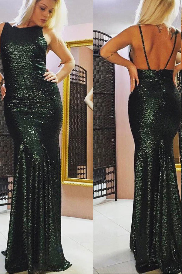 Sheath Sweep Train Scoop Neck Sleeveless Low Back Long Prom Dress,Party Dress