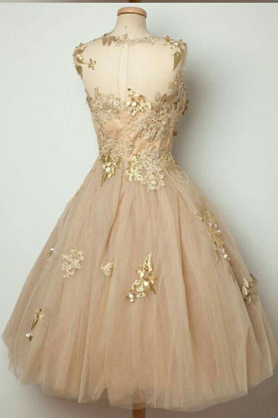 Pink Sheer Homecoming Dresses,Lace Up Appliques Beading Short Prom Dress HCD126 - Ombreprom