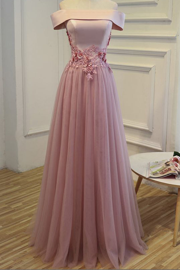 Pink A Line Floor Length Off Shoulder Lace Up Tulle Appliques Beading Cheap Bridesmaid Dress