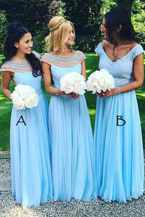Blue A Line Floor Length V Neck Capped Sleeve Layers Bridesmaid Dress,Wedding Party Dress B348 - Ombreprom