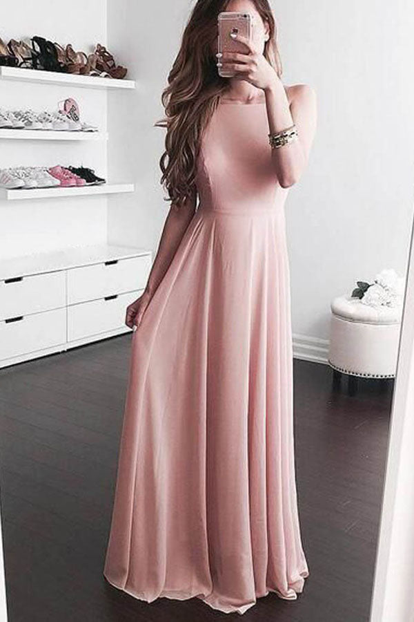 Pink A Line Floor Length Sleeveless Chiffon Prom Dress,Party Dress