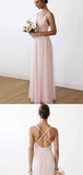 Impressive Pink Spaghetti Straps Sleeveless V Neck Bridesmaid Dress B380