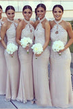 Sheath Floor Length Halter Sleeveless Appliques Cheap Bridesmaid Dress