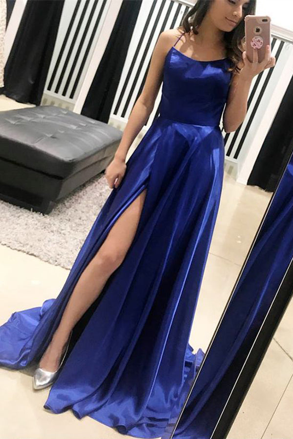 Royal Blue A Line Brush Train Sleeveless Backless Side Slit Prom Dress,Party Dress
