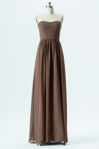 Warm Taupe A Line Floor Length Sweetheart Strapless Open Back Cheap Bridesmaid Dresses