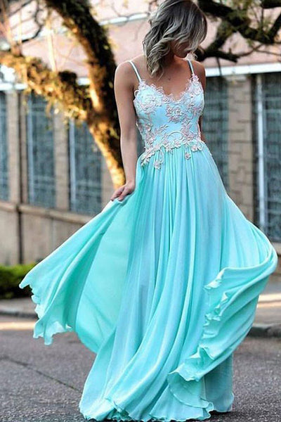 Blue A Line Floor Length Spaghetti Sleeveless Appliques Mid Back Prom Dress,Formal Dress