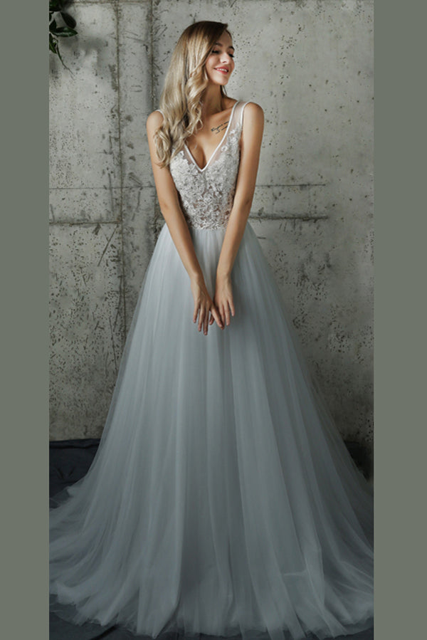 White A Line Brush Train Deep V Neck Layers Tulle Wedding Dress,Beach Wedding Dress